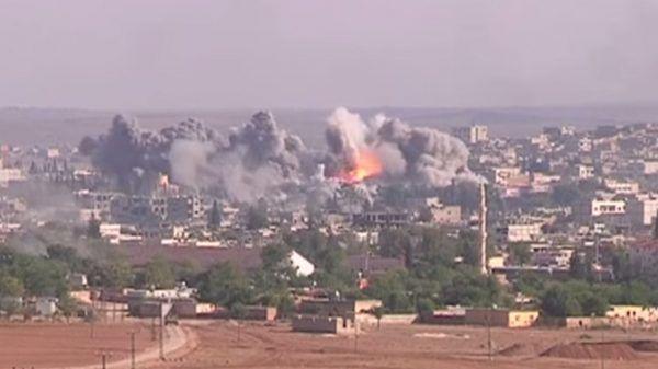 Atak koalicji na pozysje ISIS wokół KObane (fot. domena publiczna)