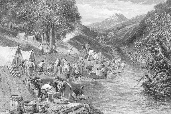 Maryański założył kopalnię złota, lecz jego projekt nie przetrwał próby czasu. Ilustracja poglądowa.