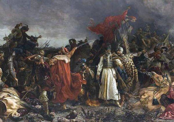 Fragment obrazu Witolda Piwnickiego, przedstawiającego bitwę pod Cecorą.