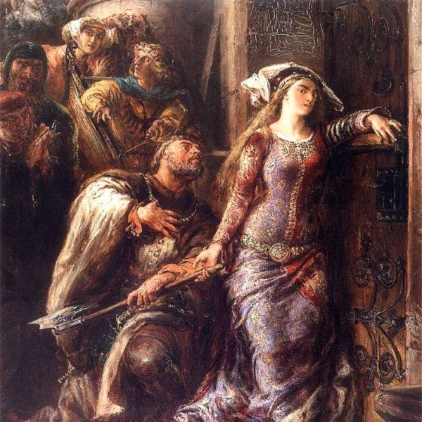 Dymitr z Goraja przytrzymuje Jadwigę próbującą sobie wyrąbać toporem drogę do Wilhelma (fot. domena publiczna)