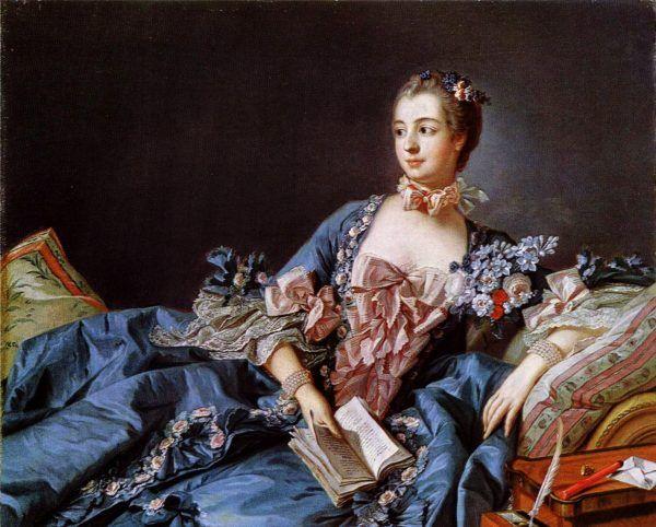 """Madame de Pompadour świadomie kreowała swój wizerunek """"oświeconej"""". Dlatego często pozowała z książką."""