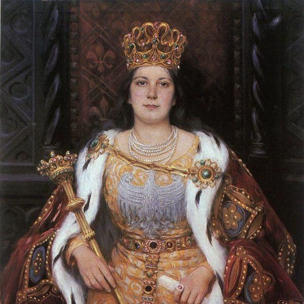 Jadwiga Andegaweńska na płótnie autorstwa Aleksandra Augustynowicza (fot. domena publiczna)