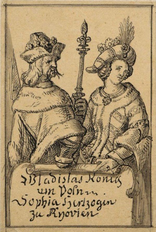 Jagiełło i Sonka na rycinie Aleksandra Lessera (fot. domena publiczna)