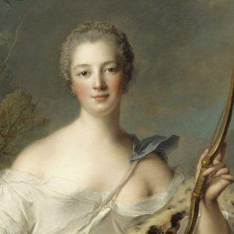 Madame de Pompadour jako bogini Diana.