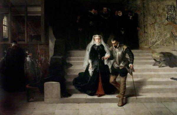 Maria królowa Szkotów prowadzona na egzekucję. Obraz Johna Potta Lasletta.