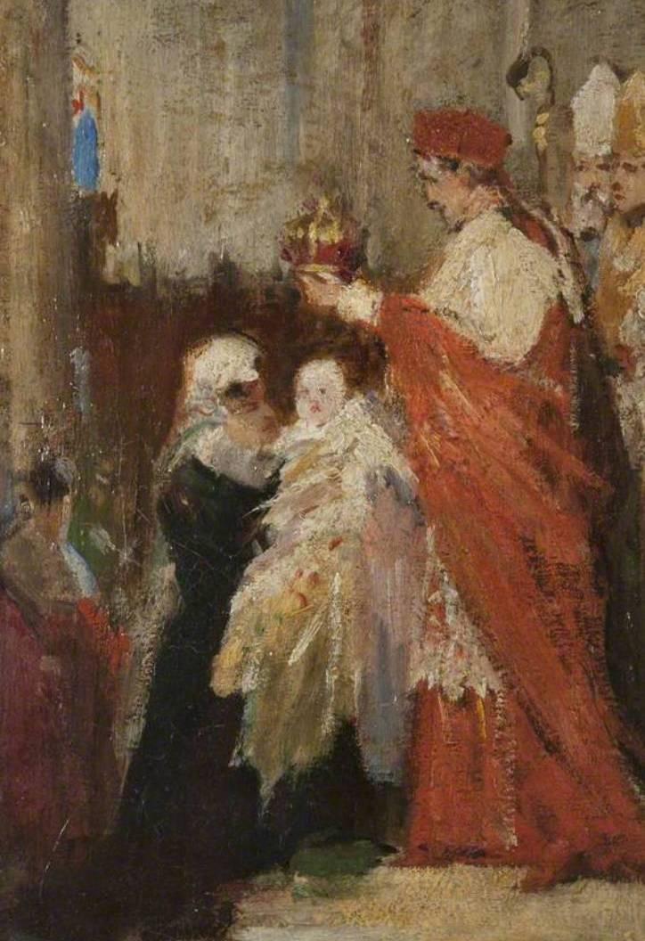 Koronacja malutkiej Marii na królową. Obraz Williama Ewarta Lockharta.