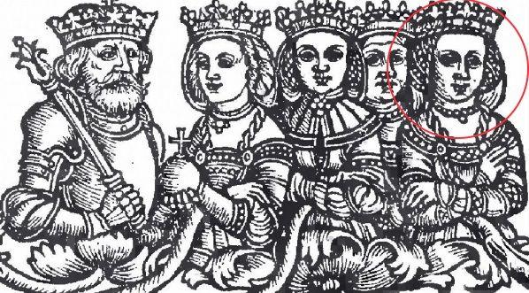 Władysław Jagiełło i jego żony - Jadwiga Andegaweńska, Anna Cylejska, Elżbieta Granowska i zaznaczona kółkiem Zofia Holszańska (fot. domena publiczna)