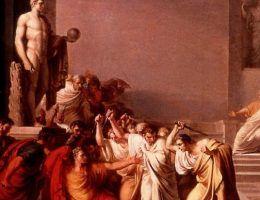 Niewdzięczny Treboniusz przypłacił swój udział w zabójstwie Cezara głową, i to dosłownie. Na ilustracji śmierć Cezara.