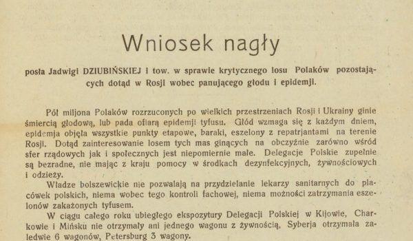 Wniosek nagły złożony przez Jadwigę Dziubińską w sprawie Polaków w Rosji.