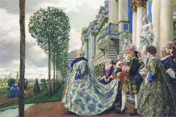 Elżbieta szybko odnalazła się w dworskiej rzeczywistości. Na ilustracji – podczas wizyty w Carskim Siole.