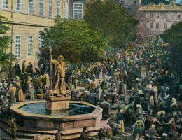 Dlaczego to właśnie Lwów został stolicą Galicji i Lodomerii? Na ilustracji lwowski Rynek na pocztówce z końca XIX wieku.