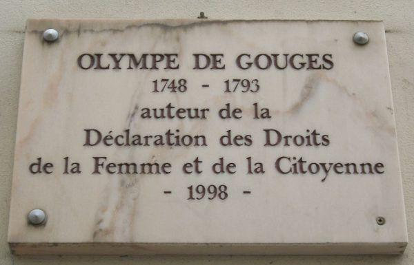 Tablica poświęcona Olimpii de Gouges w Paryżu (fot. Mu - Eigenes Werk, lic. CC BY-SA 3.0)