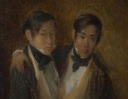 Chang i Eng zawarli związki małżeńskie w 1843 roku. Ich portret jest o trzy lata późniejszy - pochodzi z 1846 roku.