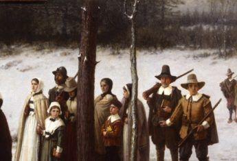 Amerykańscy pielgrzymi idący do kościoła (fot. domena publiczna)