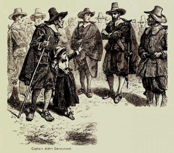 Dziewczynka wskazuje kapitana Aldena jako czarownika w czasie procesów w Salem (fot. domena publiczna)