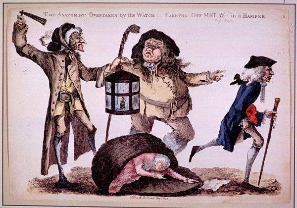 Karykatura z 1773 roku przedstawiająca strażników, którzy nakryli złodzieja ciał (fot. domena publiczna)