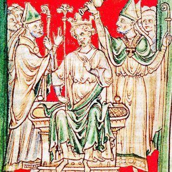 Koronacja Ryszarda Lwie Serce. Rysunek z XIII-wiecznej kroniki.