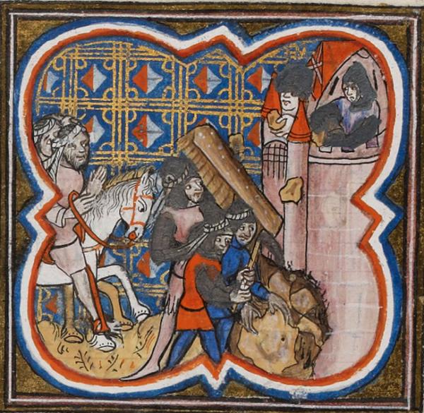 XIV-wieczna miniatura przedstawiająca oblężenie Akki.