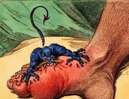 Podagra, ilustracja satyryczna (fot. domena publiczna)