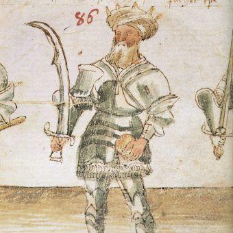 Wizerunek Saladyna z XIV wiecznego manuskryptu.