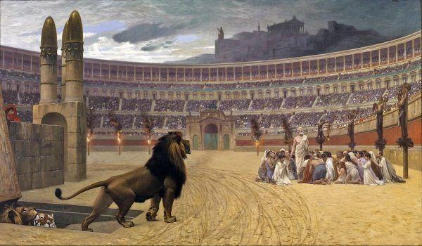 Ostatnia modlitwa chrześcijańskich męczenników rzuconych na pożarcie lwom.