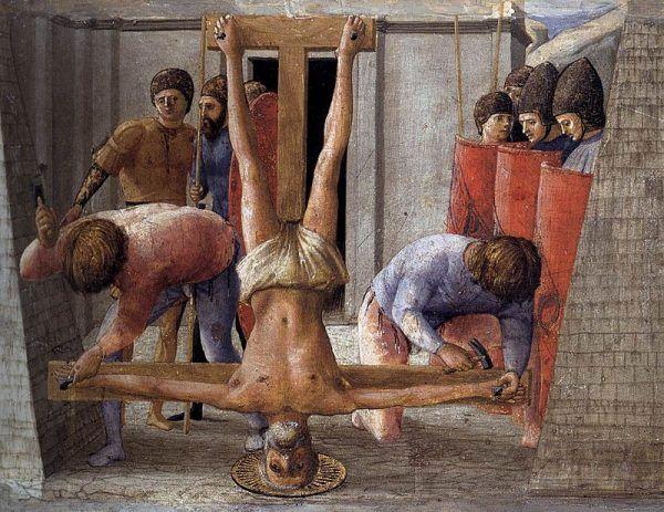 Święty Piotr podobno zginął ukrzyżowany, na własne życzenie głową w dół, by nie umierać jak jego Nauczyciel.