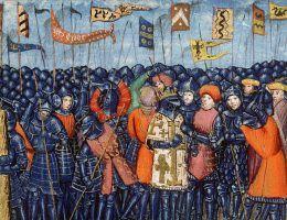 XV-wieczne przedstawienie bitwy pod Rogami Hittinu.