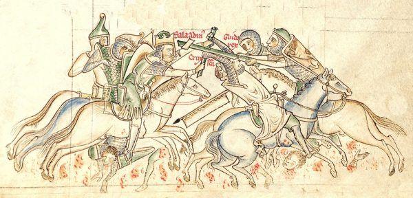 Bitwa pod Rogami Hittinu na rysunku z XIII-wiecznego manuskryptu.