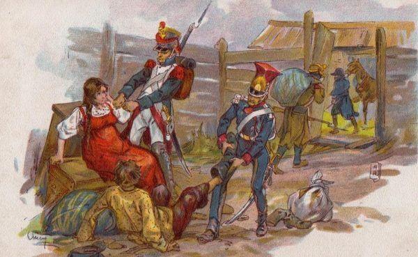 Napoleońscy żołnierze grabiący ludność cywilną w trakcie kampanii rosyjsiej 1812 roku (fot. Alexander Petrowitsch Apsit, lic. domena publiczna)