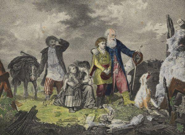 Powrót po tatarskim najeździe na rysunku Leopolda Löfflera. Może i dobytek został zniszczony, ale przynajmniej zrozpaczeni nie trafili na targ niewolników.