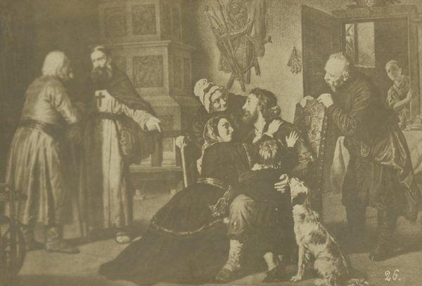 """Tylko nieliczni mogli liczyć na wykupienie z tatarskiej niewoli. Powyżej rysunek """"Powrót z jasyru"""" autorstwa Leopolda Löfflera."""