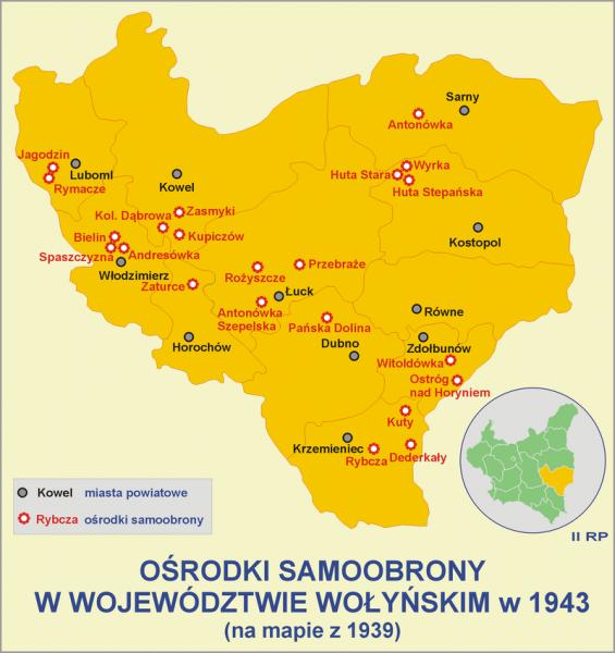 Ośrodki samoobrony w województwie wołyńskim w 1943 roku.