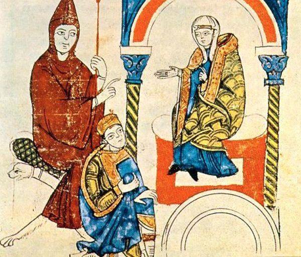 Matylda toskańska z opatem Hugo z Cluny i cesarzem Henrykiem IV.