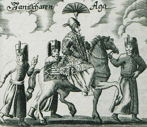 Dowódcą korpusu był janczar aga. Rysunek z XVII wieku.