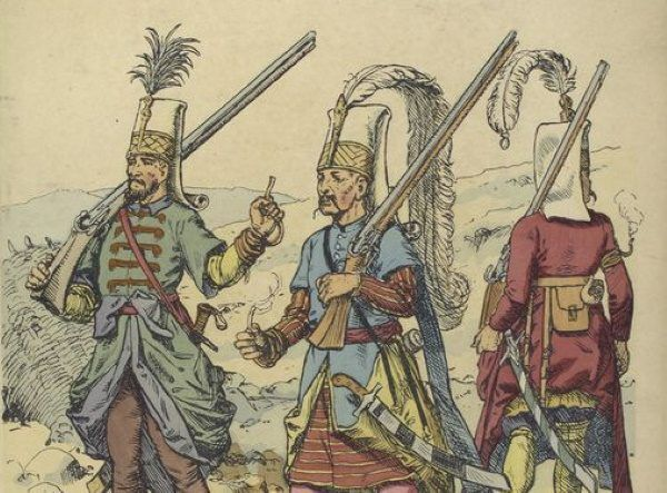Na uzbrojenie wyborowych wojowników składały się szable, jatagany, łuki, a później arkebuzy i muszkiety.