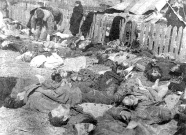 Zwłoki zamordowanych Polaków podczas napadu UPA na kolonię Lipniki 26 marca 1943 roku. Gdyby Armia Krajowa zareagowała szybciej, ofiar mogłoby być znacznie mniej.