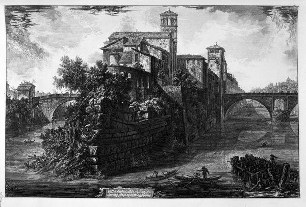 Świątynia ku czci Asklepiosa powstała na wyspie na Tybrze w 293 roku p.n.e. Z Epidauros przywieziono wtedy święte węże boga, które po dopłynięciu do Rzymu uciekły ze statku na wyspę. Świątynia miała kształt łodzi.