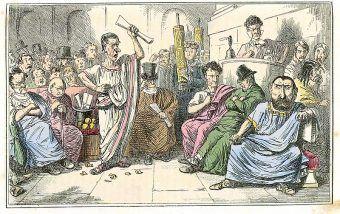 Satyryczne przedstawienie sporu Cycerona z Katyliną