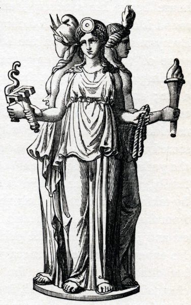 Wampirzyce antyku stanowiły orszak bogini świata podziemnego i magii – Hekate. Trójfiguralne wyobrażenie Hekate z rozdroży