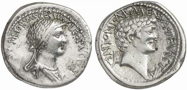 Marek Antoniusz kazał nawet wybić monetę na cześć Kleopatry