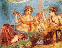 Rzymianie dbali o rozrywki. Bankiet przedstawiony na fresku z Pompejów.