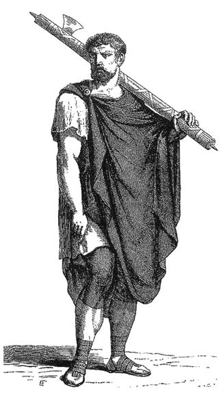 """Liktor na ramieniu niósł symbol swojego zawodu – faces. Był to pęk rózeg z zatkniętym w nie toporem. To właśnie od niego pochodzi współczesne słowo """"faszyzm""""."""