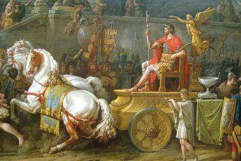 """Detal z obrazu """"Triumf Emiliusza Paulusa"""". Emiliusz Paulus w kwadrydze triumfalnej, której mógłby ostatecznie nie uzyskać, gdyby nie zagrywka Serwiliusza Puleksa"""