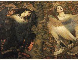 """Nieumarłe posiadały zdolności zamieniania się w stworzenia nocy. Taka umiejętność sugeruje, że do grona wampirzyc należały także homeryckie syreny. Wiktor Wasniecow – """"Sirin i Alkonost. Ptaki radości i rozpaczy"""" (1896)"""