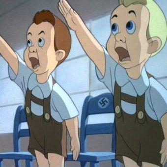 """Pranie mózgu niemieckich dzieci trwało od najmłodszych lat (na il. kadr z filmu krótkometrażowego Disneya """"Education for Death"""" z 1943 roku."""
