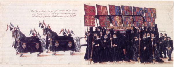 Kondukt żałobny podczas pogrzebu Elżbiety I. Ceremonia odbyła się przeszło miesiąc po zgonie władczyni, co przyniosło niezbyt przyjemne konsekwencje.