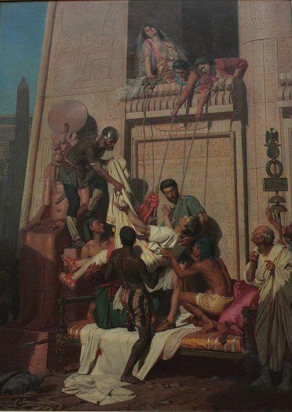 według starożytnych umierającego Antoniusza wciągnięto na linach do mauzoleum, w którym przebywała Kleopatra