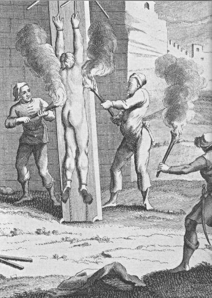 Jednym ze sposobów torturowania było przypiekanie ciała