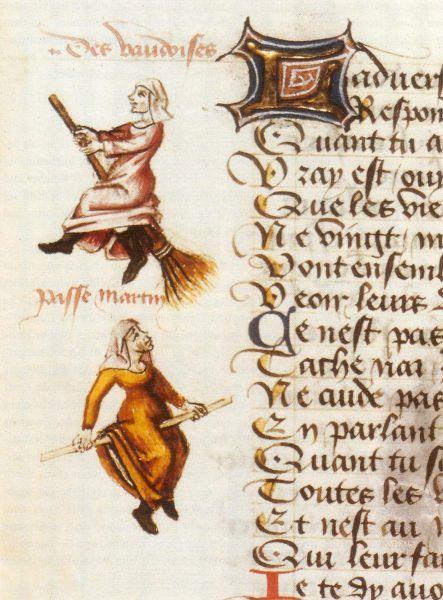 """Pierwszy znany obraz prezentujący kobietę na miotle znajduje się na marginesie rękopisu """"Le Champion des dames"""" autorstwa Martina Le Franca"""
