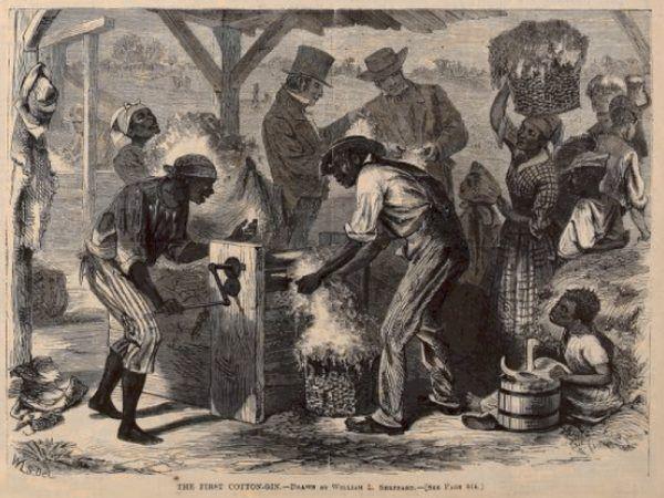 Czarni niewolnicy wykorzystujący odziarniarkę bawełny podczas pracy na plantacji